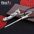 Beier new store 100% 925 thai silver sterling dragons sword pendant necklace punk fashion jewelry A1763 free give rope  A1779