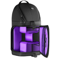 цены Neewer Professional Sling Camera Storage Bag Durable Waterproof Black Carrying Backpack Case for DSLR Camera  Purple Interior