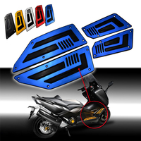 FOS YA001 BL 1 Set Blue Motorcycle Aluminum Rubber Rider Insert Footboards Footpeg Footrest Pad For