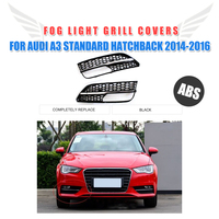 Fog Lamp Mask Cover Frame Grille Chrome Protection Mesh For Audi A3 Standard Hatchback bumper 2014 2015 2016 RS3 Style ABS