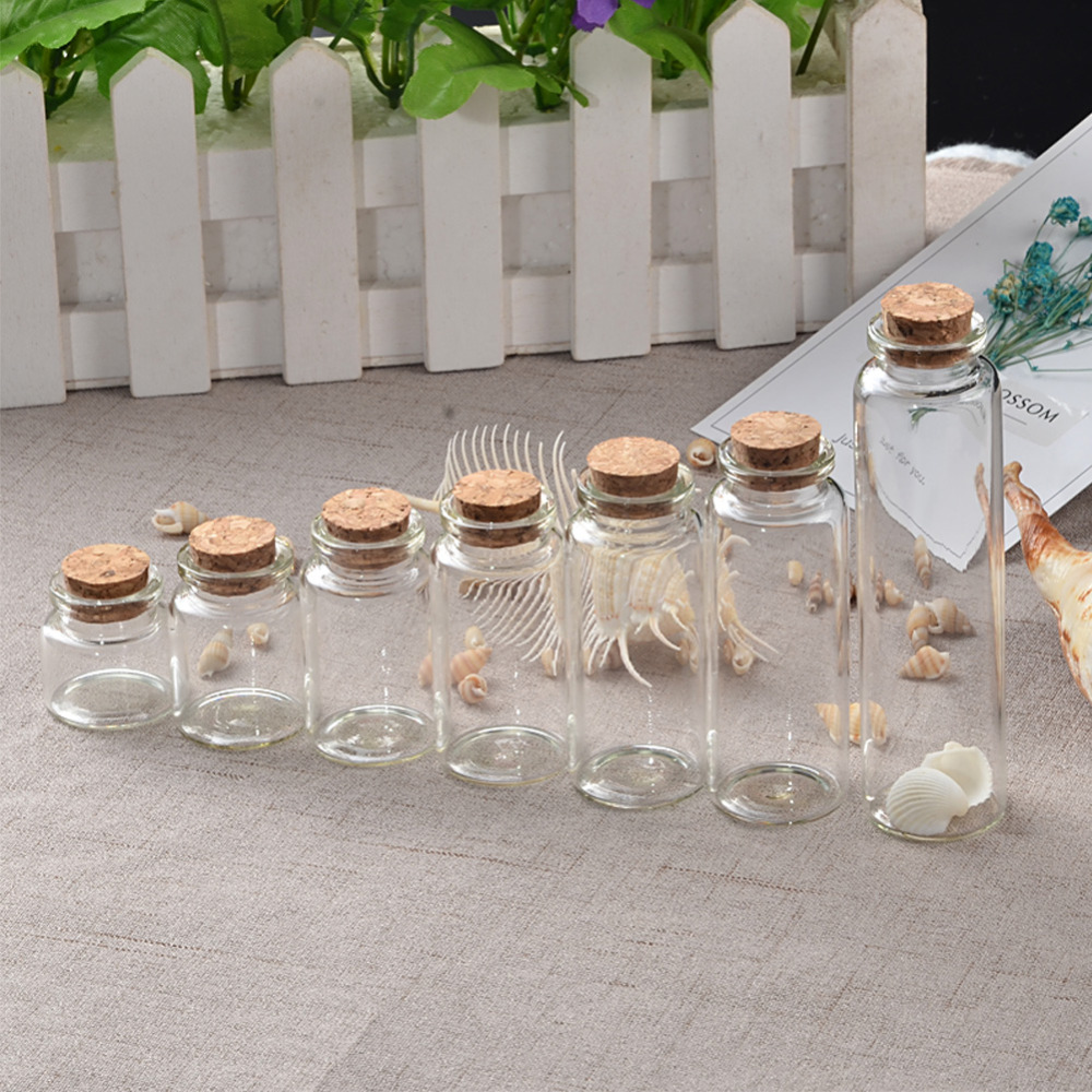 Mini Bottle with Cork Stopper 10ml 15ml 20ml <font><b>25ml</b></font> 30ml 40ml 55ml Empty Bottles <font><b>Containers</b></font> Jars Vial idea for Wedding Gift 50pcs image