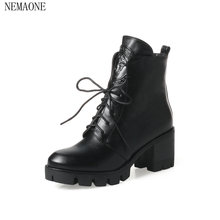 NEMAONE 2018 Women Ankle Boots Fashion Solid Black Square High Heel Round Toe Lace Up Western Style Women Boots Size 33-43