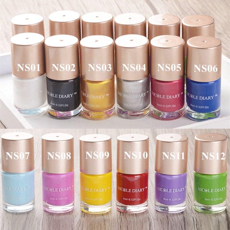 NICOLE DIARY 9ml Nail Polish Stamping Nail Art Polish Multi Color Candy Nail Polish Black White Gold Silver Polish