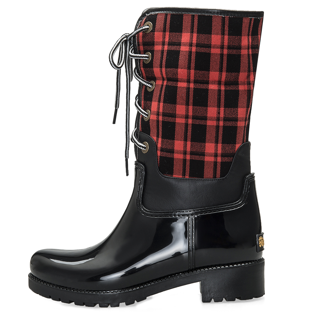 Pantorrilla pvc Nieve Cálido Media Lluvia Con Black De Botas Impermeables Exteriores 20 Mujer Y Eco 308 Forro Cordones Para Oqnz60w