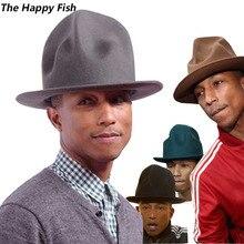 Pharrell hat sombrero fedora de fieltro para mujer, hombre, sombreros, sombrero negro
