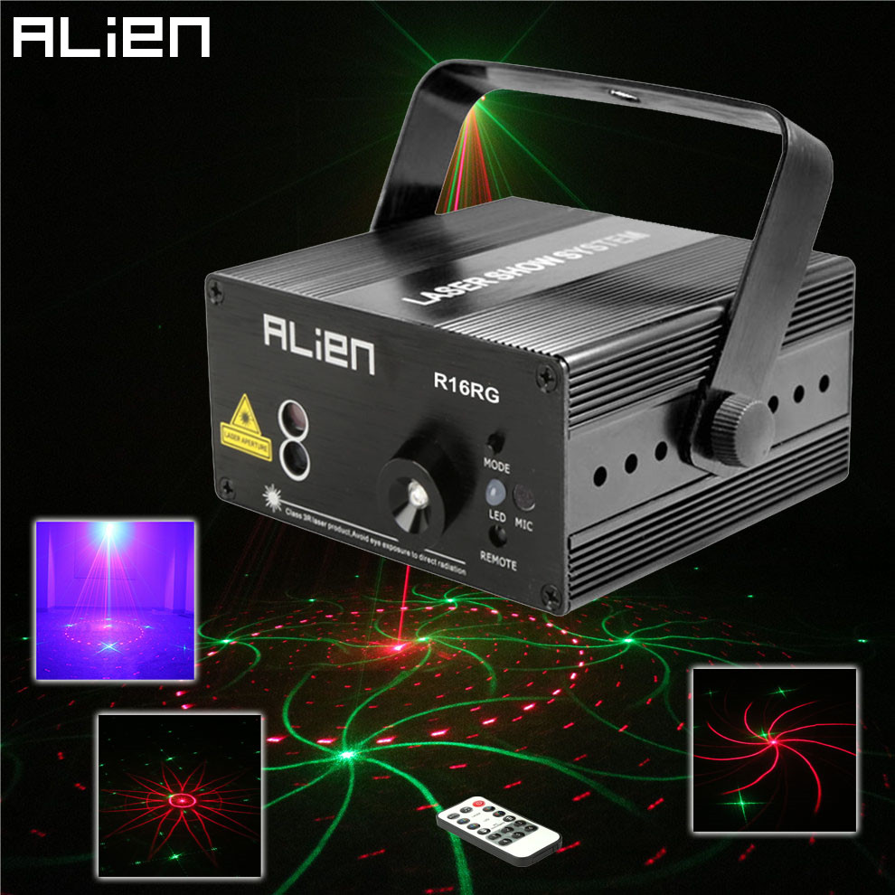 ALIEN Mini RG 16 Patterns Laser Stage Lighting Effect IR Remote Laser Projector LED Blue Light Dance Party DJ Disco Home Lights laser stage lighting 48 patterns rg club light red green blue led dj home party professional projector disco dance floor lamp