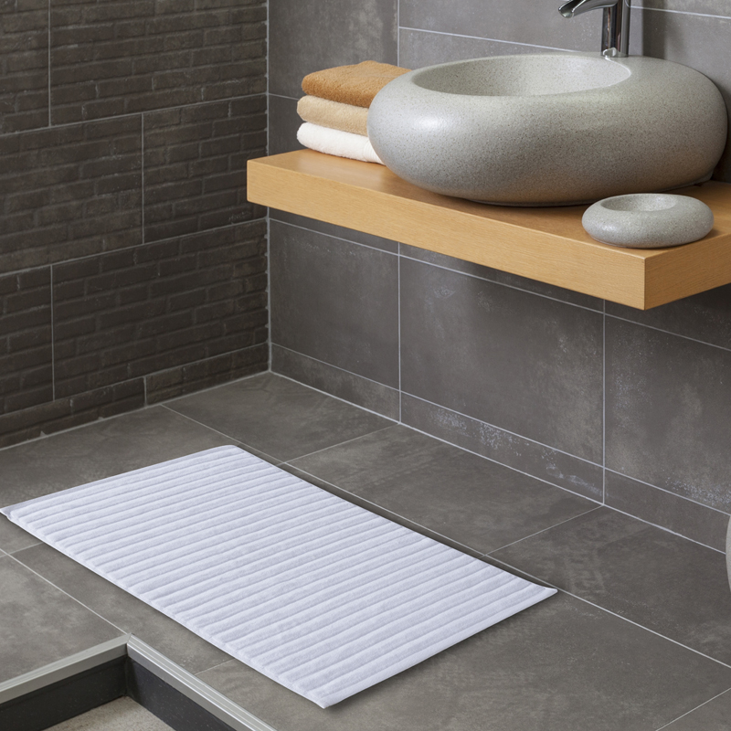 2 Pieces 100 Cotton Solid Color Luxury Jacquard Bath Mat