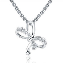 Everoyal Trendy Silver 925 Girls Clavicle Necklace Jewelry Female Fashion Crystal Bowknot Pendant Necklace For Women Accessories everoyal trendy crystal ocean pendant necklace girls accessories female fashion 925 sterling silver necklace for women jewelry