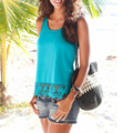 2017 Summer Women New Blouse Tank Tops Sleeveless Round Neck Casual Lace Shirt Ladies Vest Singlets Tops