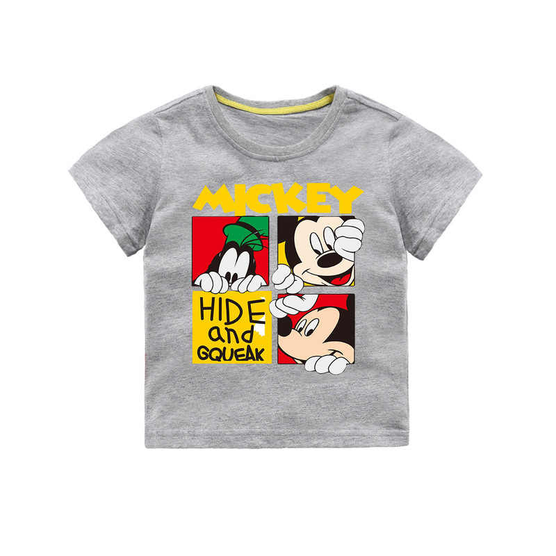 Детская футболка для маленьких девочек и мальчиков, футболка с короткими рукавами и принтом Микки Мауса, Повседневная футболка