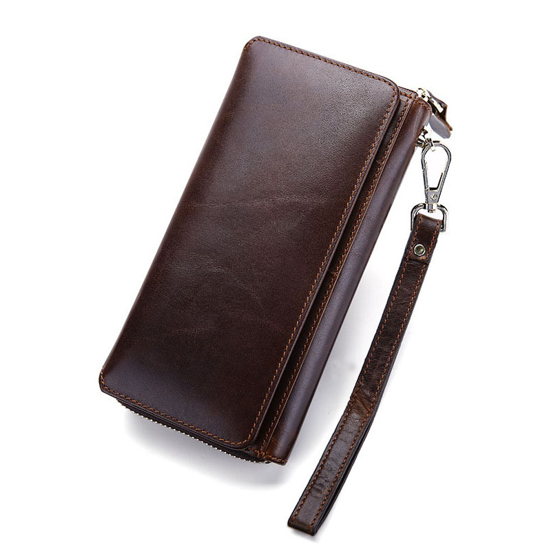 ФОТО Genuine Leather Men Wallets Long Credit Card Holder 2017 Fashion Vintage Retro Male Wallets Coin Purse Luxury Brand Design