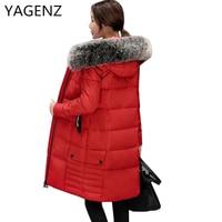 YAGENZ Women Coat Jacket Medium Length Slim Woman Parkas Fox Fur Hooded Winter Thick Coat Women