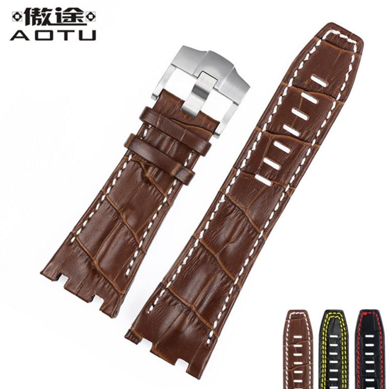 28MM Genuine Leather Watchbands For Audemars Piguet Men Watch Band Calfskin Leather Clock Belt For AP Men Retro Watch Straps