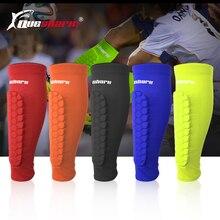 QUESHARK для 1 ноги Щитки на голень для футбола сотовый анти-столкновения компрессионные гетры баскетбольные гетры
