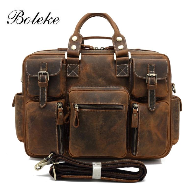 brand men cowhide genuine leather travel duffle male multipocket weekend travel tote bag casual - Travel Tote Bags