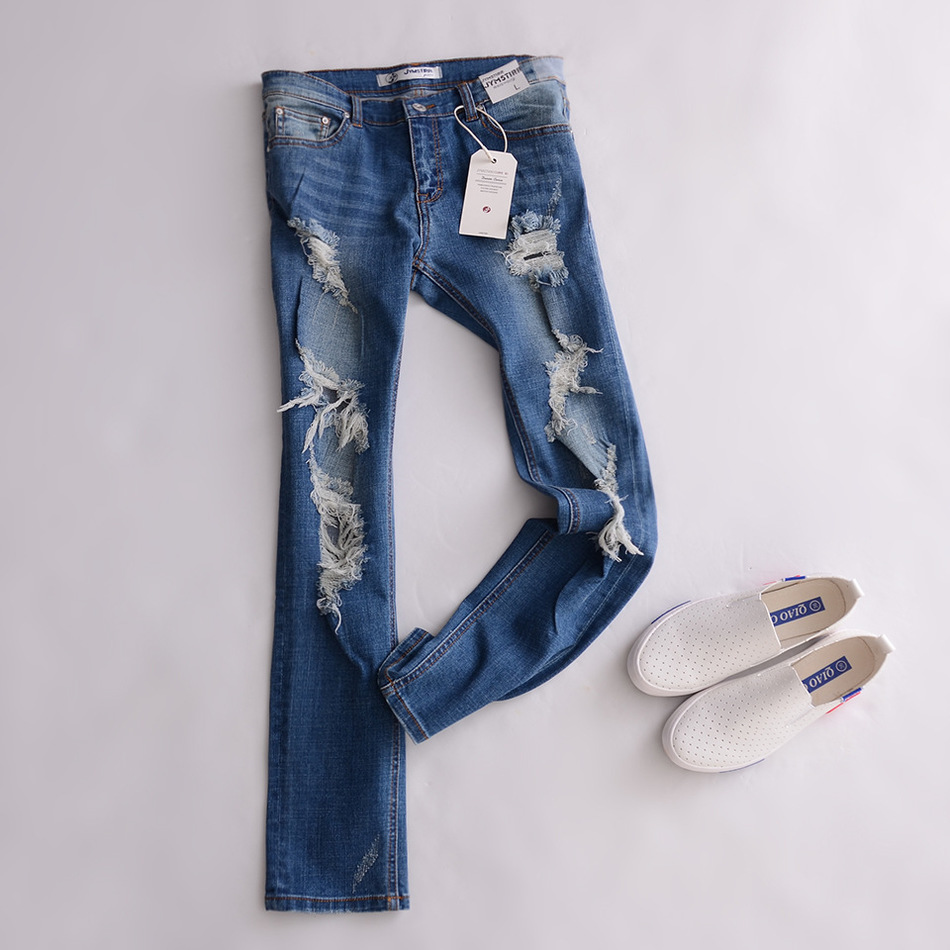 ФОТО 2016 New Spring Autumn Women Jeans Ripped Holes Fashion Full Length Mid Waist Famale Pencil Denim Pants Cotton Trousers AC573