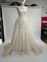 2018 High Quailty Champagne Mermaid Lace Wedding Dresses With Detachable Train Vintage Bride Prom Party Gowns