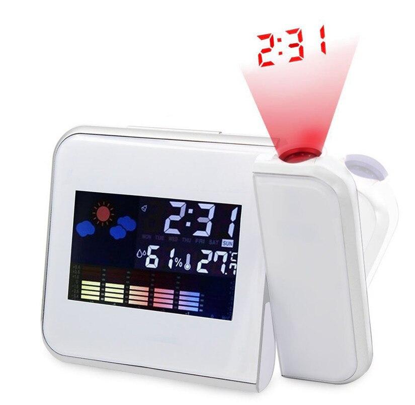 Projection Digital Weather Black LED Alarm Clock Snooze Color Display / LED Back Home Decor 2018#5552