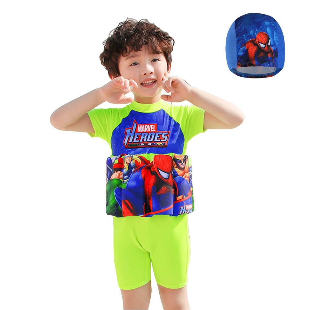 高輝度スパイダーマン漫画ワンピース子供 Surfting 水着浮力フローティング水着スリーブ安全保護のためのスーツ