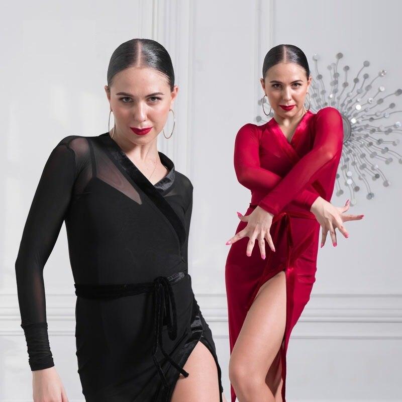 Red Latin American Dance Dresses Women Latin Dress Modern Dance Costume Sexy Tango Dresses Latino Salsa Dress