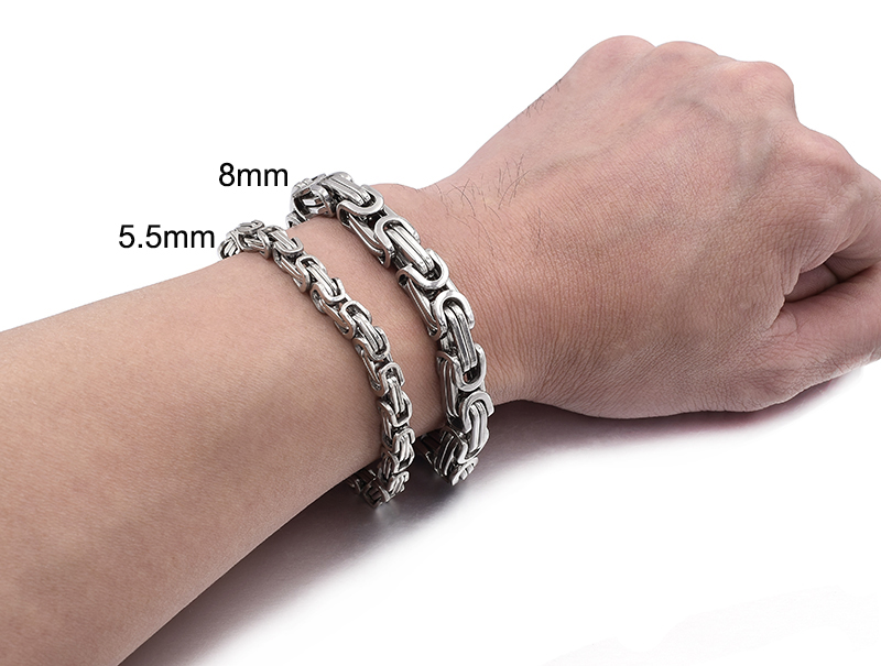 Gokadima New Product, Silver Color Stainless Steel bracelets Link Byzantine Chain Bracelet For MENS Jewelry Fashion Good quality 8