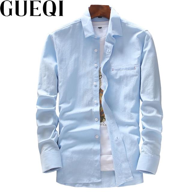 2b62bd72c40 GUEQI Solid Color Men White Linen Shirts Plus Size M-4XL Autumn Spring Man  Cotton Black Casual Clothing Brand New Tops