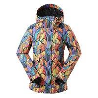 Novo Design Revestimento Do Snowboard do Inverno Para As Mulheres À Prova D' Água de 10000 Graus À Prova de Vento Colorido Impresso Esportes Ao Ar Livre Jaqueta de Esqui