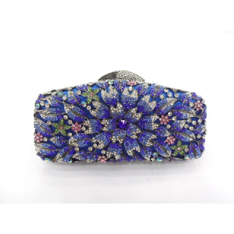 ФОТО 8222-colorG Crystal Floral Flower Lily Wedding Bridal Party Night Metal Evening purse clutch bag case box handbag