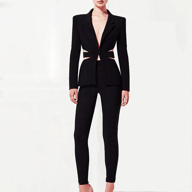Alta qualidade 2 Peça Suits Pant Jacket Moda Brasão Das Mulheres sem encosto Slim Fit sexy Ladies Blazer Lazer Garme DR669
