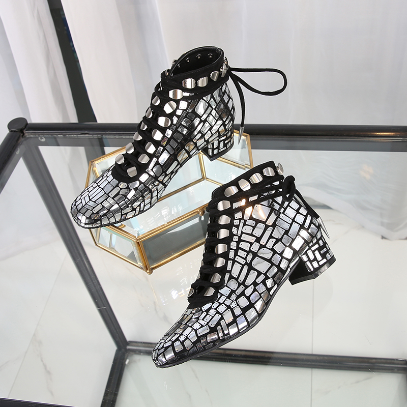 Hot 2018 Autumn New Shoes Women Med Heels Bling High-top Lace-up Square Toe Martin Boots Women Ladies Shoes Zapatos De Mujer 2016 spring autumn women pumps fashion square toe lace up ladies shoes silver platform wedges high heels zapatos mujer 33 40