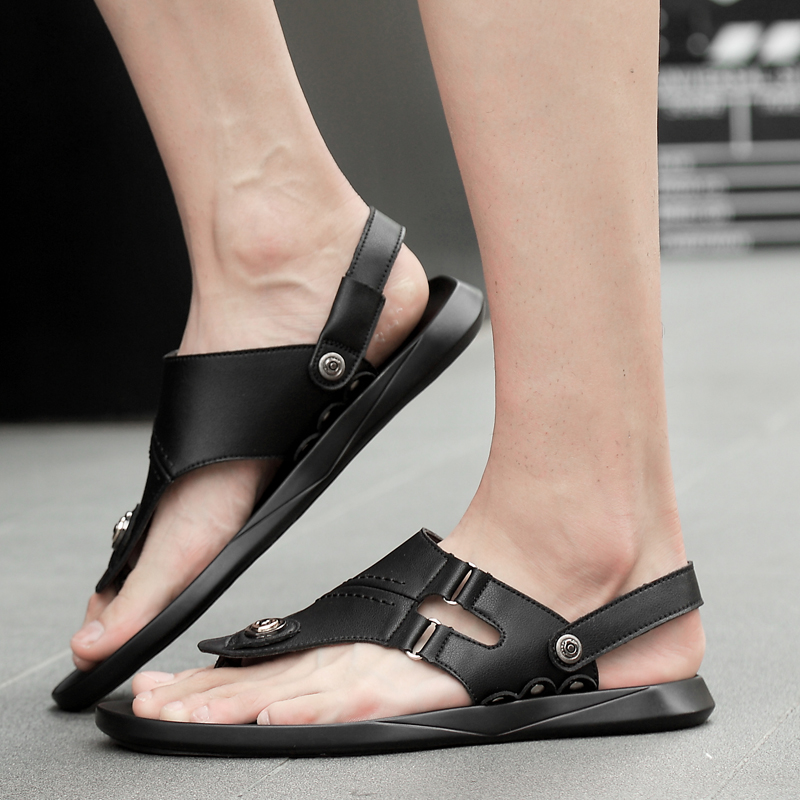 2019 men 39 s sandals summer leather casual shoes platform beach sandals man fashion breathable sandals for men shoe black big size in Men 39 s Sandals from Shoes