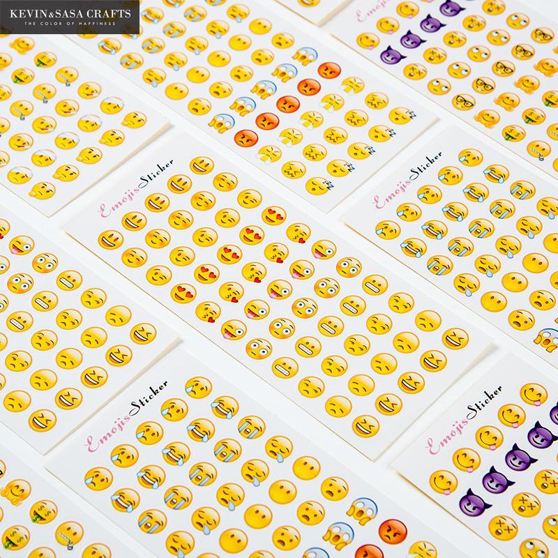 12Pcs/Set Emoji Stickers Scrapbooking Adhesive Printer Paper Stationery Sticker Kawaii Scrapbook  Sticker Quality