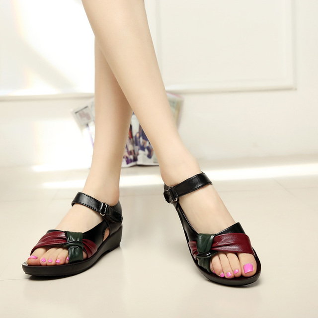 05312532b96a ... 2017 summer Mother shoes flat sandals women aged leather Soft bottom mixed  colors fashion sandals comfortable old shoes. Previous