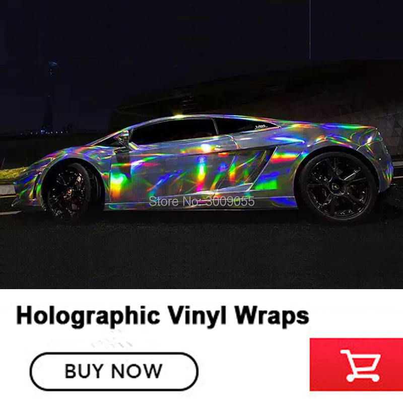 Silver Holographic Chrome Vinyl Film Hologram Stickers With air release Vehicle Styling Laser chrome Various color Size:1.52*20M
