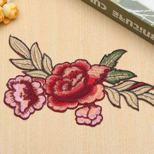 Rose blume muster kragen nähen auf flecken niedlichen applikationen ...