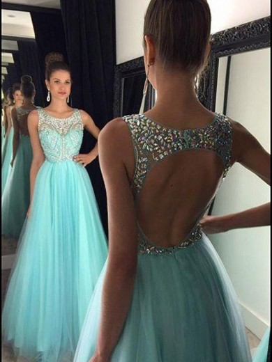 Alexzendra Light Blue A Line Long Prom Dresses 2019 Beaded Crystals O Back Elegant Party Dresses Plus Size Customize