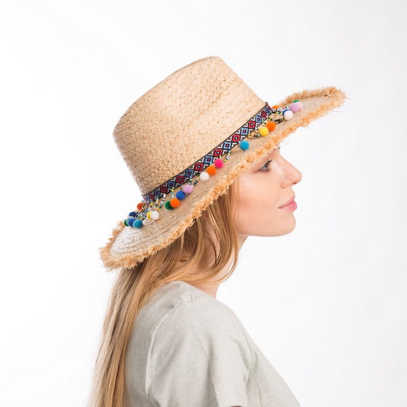 Muchique Summer Hats for Women Raffia Sun Hat with Sequins Trim Straw  Panama Fedora with Fray Edge Boho Style Safari Hat 5b5ae597228