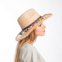Muchique summer hats for women raffia sun hat with sequins trim straw panama fedora with fray.jpg 200x200