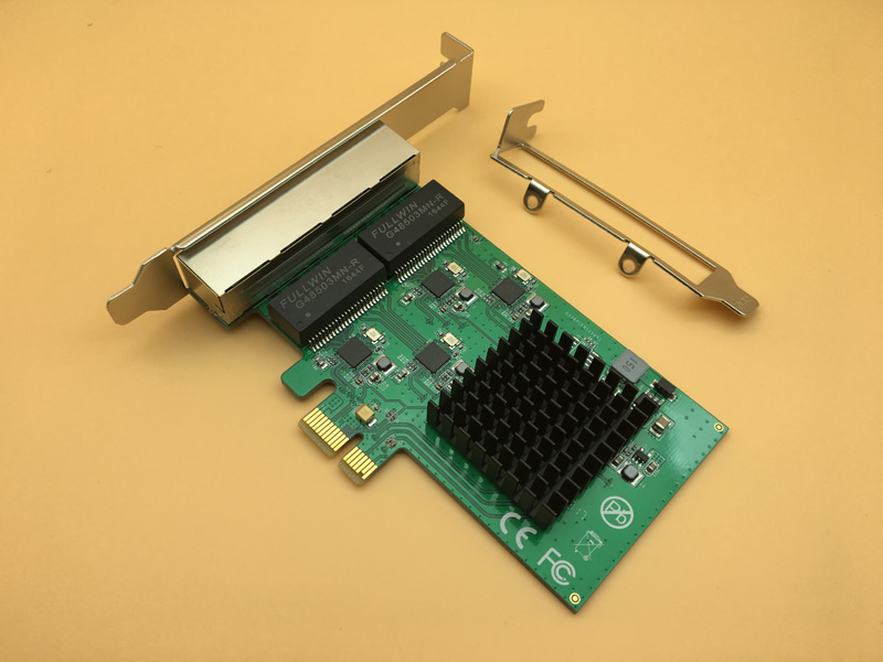 4 Port Gigabit Ethernet Network Card Adapter PCI E X1 Four RJ45 Ethernet Interface RTL8111 Chipset w/ Low Profile Bracket