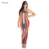 Tie Dye Print Strapless Boho Maxi Dress 2017 Sexy Off Shoulder Night Club Party Beach Wear Bodycon Long Summer Dresses for Women