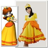 Game Super Mario Princess Daisy Cosplay Kostuum Super Mario Anime cosplay prinses jurk Halloween volwassen dame avondjurk