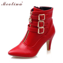 Meotina New Shoes Women Boots High Heels Ankle Boots Pointed Toe Buckle Martin Boots Zip Ladies Shoes White Big Size 44 45 10 11