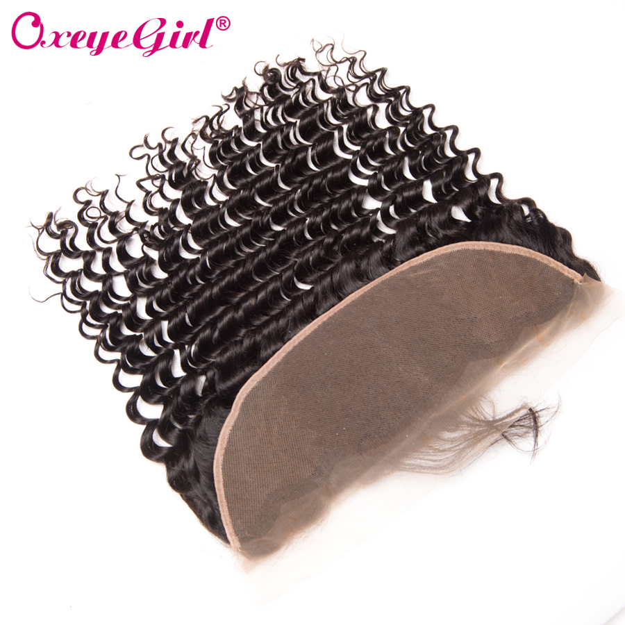 13x4 Lace Frontal Closure With Baby Hår Deep Wave Brasilian Hair Bundles Full Blond Fram Oxeye Girl Remy Mänskligt Hår Fram Fram