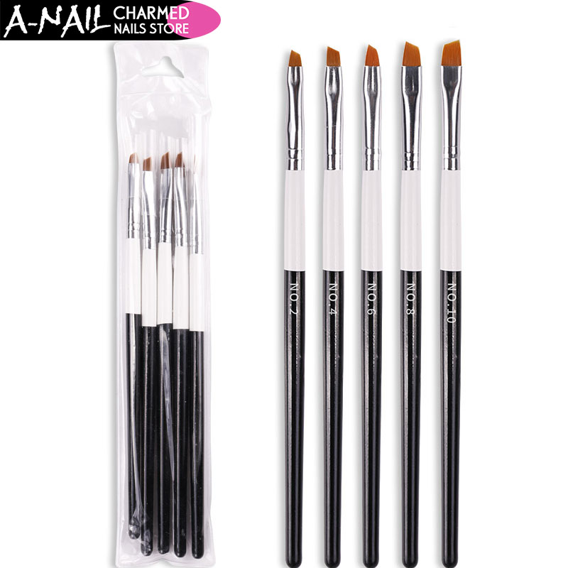 5pcs/set No. 2 4 6 8 10 Nail Art Brush Acrylic UV Gel Polish Gradient Painting Pen Drawing French Brush Manicure Nail Art Tools цена