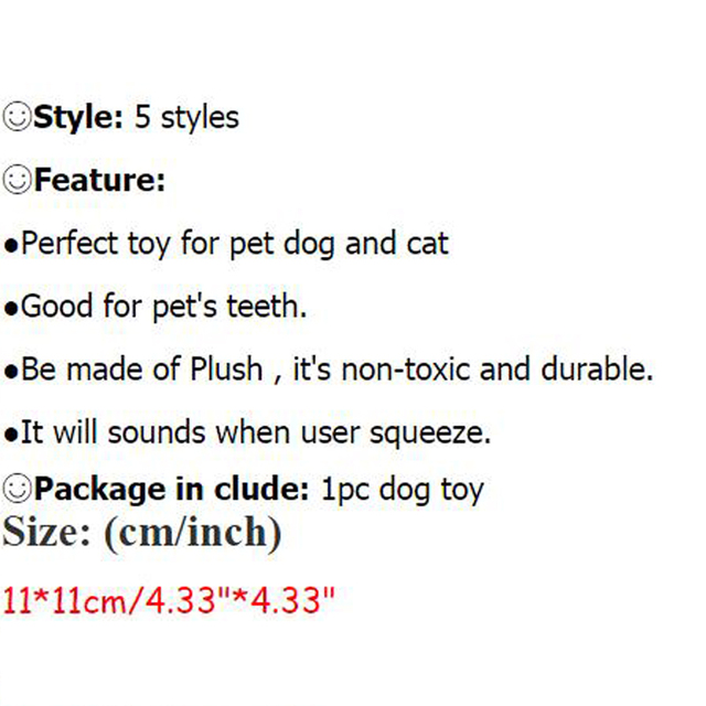 Solid Dog Ball Toys Puppy Cat Plush Dogs Toys For Small Dog Bite Resistant Cute Animal Designs Chew Squeaker DOGGYZSTYLE