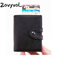 ZOVYVOL Hot sale Aluminium Box Travel Card Wallet Fashion Men Women Multifunctional Metal RFID PU Leather Credit Holder