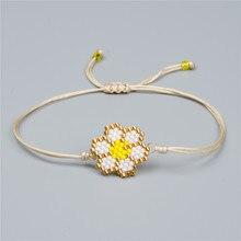 Shinus 10Pcs/lot Miyuki Women Bracelet Flower Charm Bracelets Beaded Delica Beads Fashion Handmade Jewelry