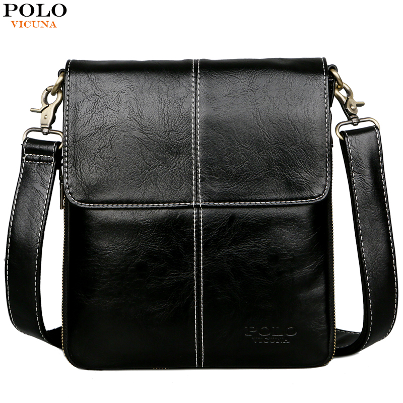 c94ce0acfbe3 VICUNA POLO Classic Black Soft Leather Man Messenger Bag Scalable Design  Men s Crossbody Bag Travel Layer