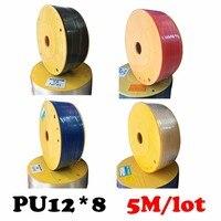 PU12*8 5M/lot Free shipping Air pipe, pneumatic hose, air duct, air compressor parts parts pneumatic hose ID 8mm OD 12mm