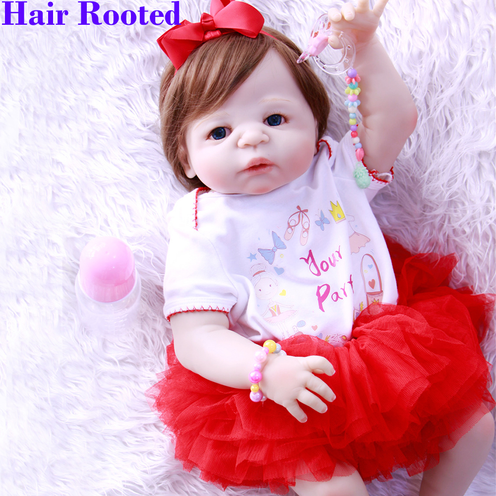 57cm New Born Baby Dolls Bebe girl Reborn bonecas full real silicone reborn baby dolls for Children  princess poupee silicon57cm New Born Baby Dolls Bebe girl Reborn bonecas full real silicone reborn baby dolls for Children  princess poupee silicon